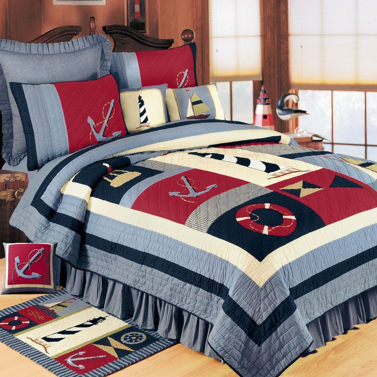 Atlantic Isle Bedding Collection - lighthouse, sailing - COTTON quilt
