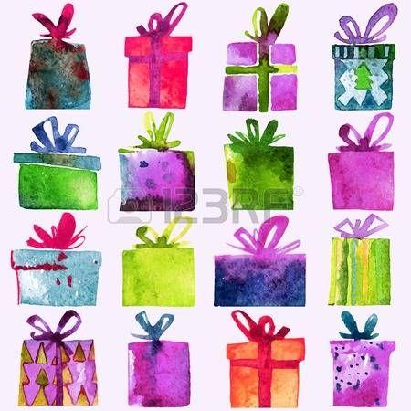 christmas present card: Akvarel Vánoční sada s dárkové krabičky, na bílém pozadí. Akvarel umění. Vektorové ilustrace. Vánoční dekorace prvky. Ilustrace