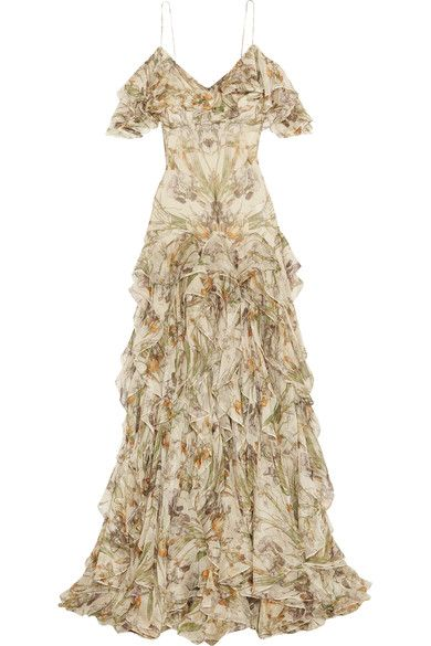 Alexander McQueen - Cold-shoulder Ruffled Floral-print Silk-crepon Gown - Ivory
