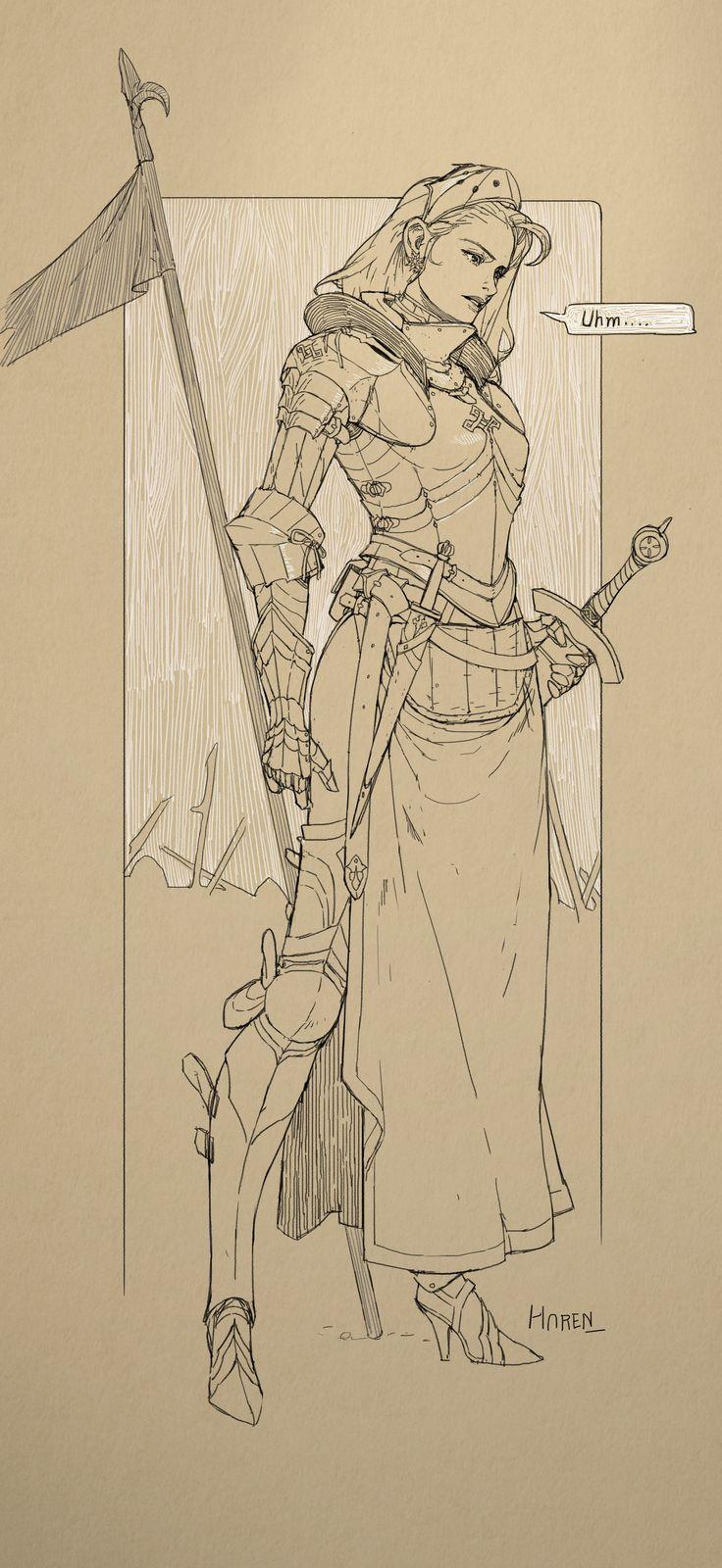 ArtStation - Doodle - Female Medieval Concept Knight - Armor Study, Kim Han seul (aka Haren)