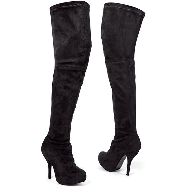Venus Women's Thigh High Stretch Boot ($35) ❤ liked on Polyvore featuring shoes, boots, black, black over-the-knee boots, stretchy boots, black thigh-high boots, stretch thigh high boots and stretch boots