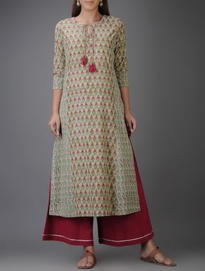 Green-Pink Block-printed Cotton Kurta with Mirror Work