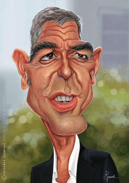 George Clooney (Celebrity Caricature) - Dunway Enterprises: http://dunway.com - http://masterpaintingnow.com/how-to-draw-everything?hop=dunway
