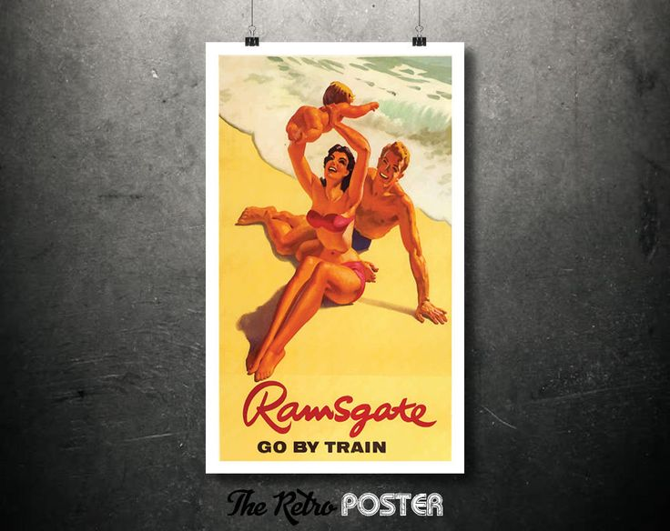 1950s Ramsgate, Kent - Go By Train Vintage Train Travel Advertising Poster // High Quality Fine Art Reproduction Giclée Print by TheRetroPoster on Etsy