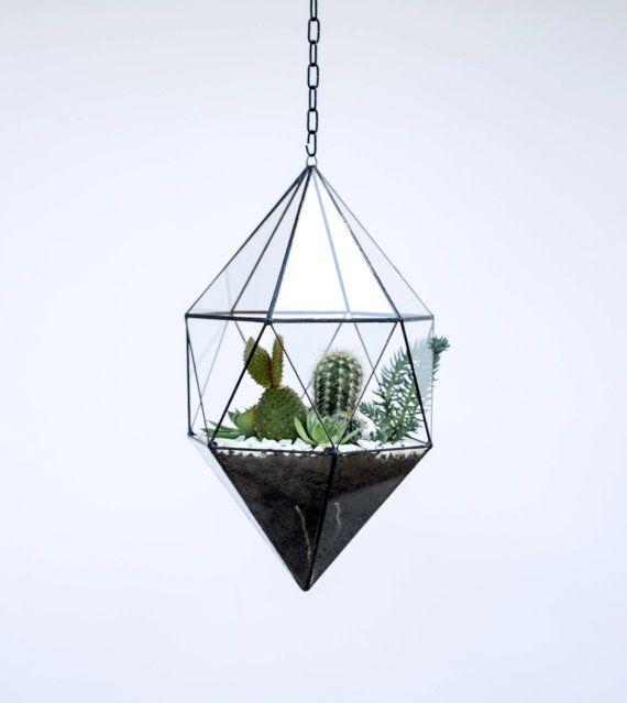 Hanging Glass Terrarium - Large Geometric Planter - Stained Glass Terrarium