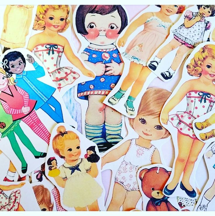 Vintage Kitsch Paper Dolls Stickers,Vintage ephemera,Kawaii Scrapbook Decoupage