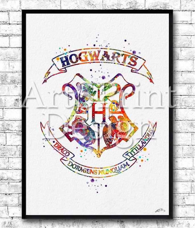 Hogwarts Crest Watercolor Print Harry Potter Poster Nursery
