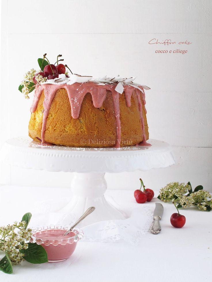 chiffon cake cocco e ciliegie