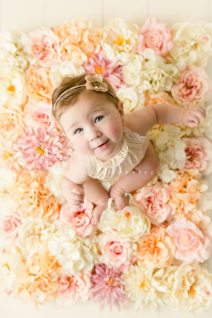 6 months milestone photo session child sitter pose boho flower back drop prop  DIY blog photography Check out the blog today for photographer tips and tools
