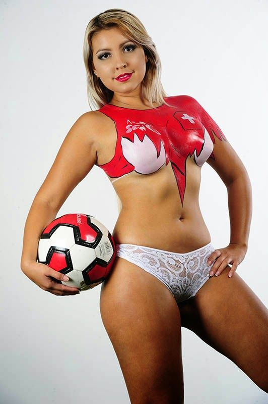 A collection of fifa body paint girls 2014 description for Body paint girl photo