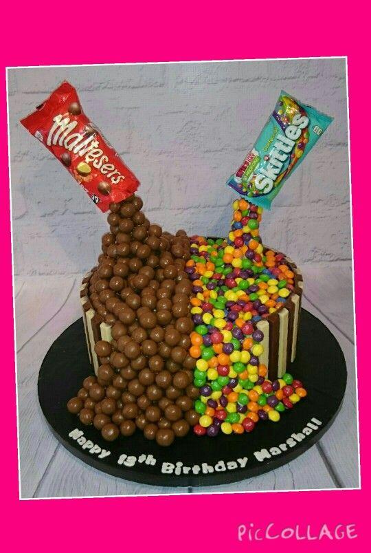Gravity cake, skittles & maltesers
