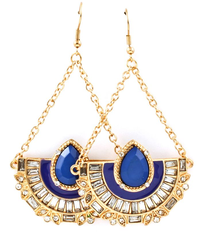 Cobalt Chandelier Earrings   Fish hook earrings. 3 inch drop.  Complements your Paper Scissors Frock Maxi Dress