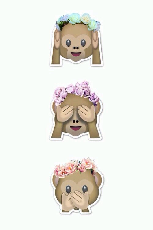 Hear, See and Speak no evil with flower crowned monkey emoji