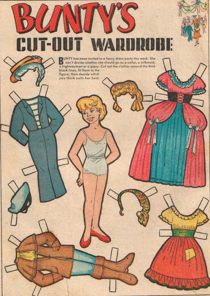 bunty comic book paper doll 5 remember these well loved the cut out dolls had a tin full