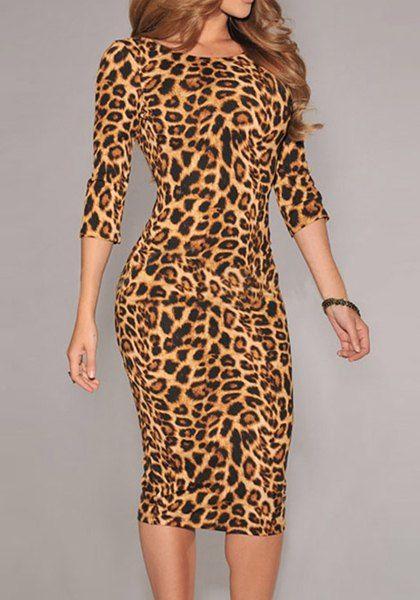 Sin respaldo de manga 3/4 Ronda de leopardo collar la impresión del vestido sudadera para las mujeres