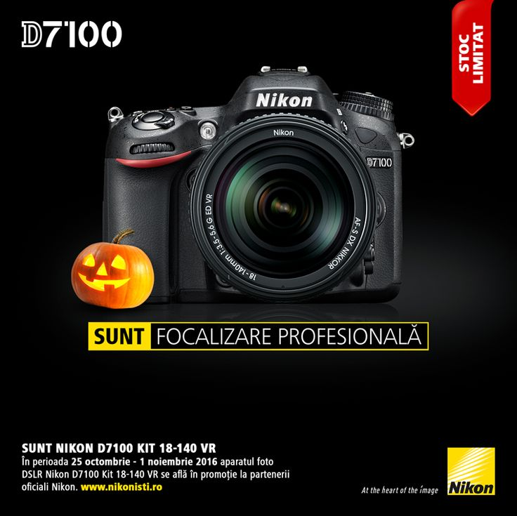In perioada 25 octombrie - 01 noiembrie 2016 aparatul foto DSLR Nikon D7100 Kit 18-140 VR se afla in promotie la partenerii oficiali Nikon.
