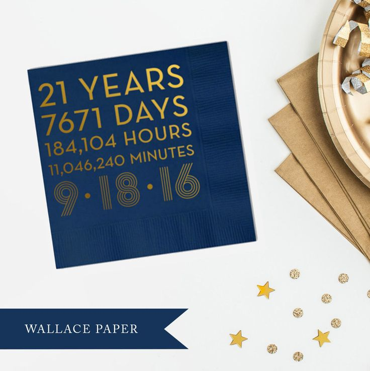 Custom Countdown Anniversary / Birthday Beverage | Cocktail | Luncheon | Dinner Napkins | 21st Birthday / 25th / 50th / 40th / 30th by WallacePaperCompany on Etsy
