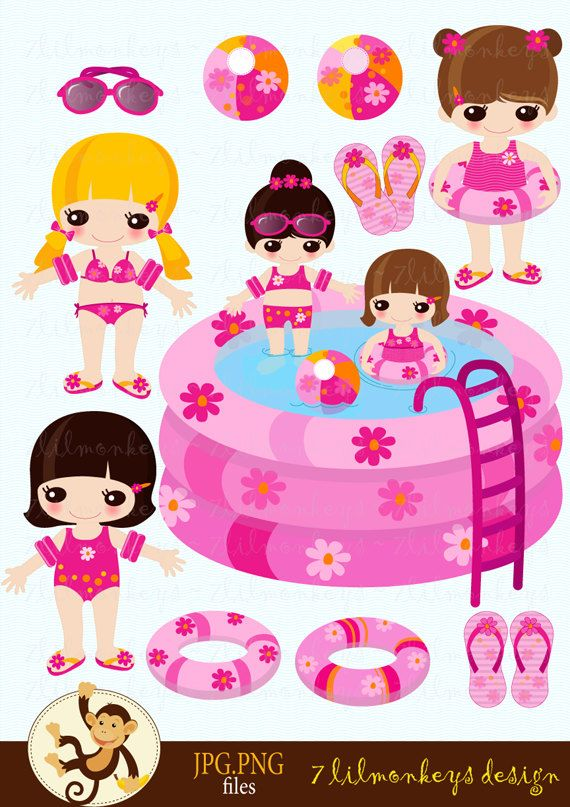 pool party clip art | Pool Party - Lil Girls - Digital Clip Art Set - pool, beach ball, lil ...