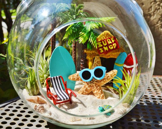 "Surf Shop Terrarium ~ Starfish with Sunglasses ~ Tall Palm Trees ~  Beach Chair ~ Air plants ~ 7"" Glass Globe ~ Beach Decor ~ Gift Idea"