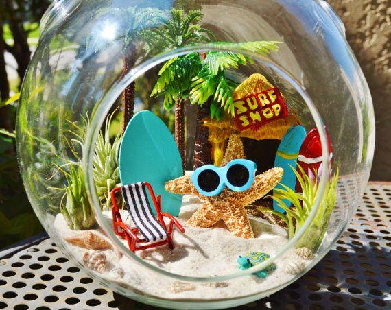 """Surf Shop Terrarium ~ Starfish with Sunglasses ~ Tall Palm Trees ~  Beach Chair ~ Air plants ~ 7"""" Glass Globe ~ Beach Decor ~ Gift Idea"""