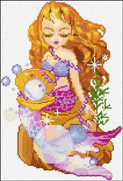 mermaid free cross stitch