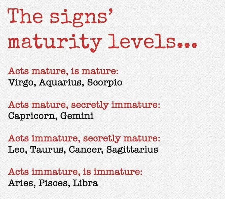 Acts immature, secretly mature. Accuracy is spot on.