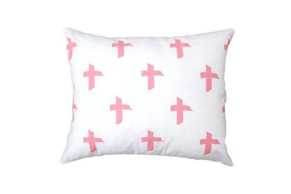 Criss cross linen cushion in salmon by BettyandMoose on Etsy