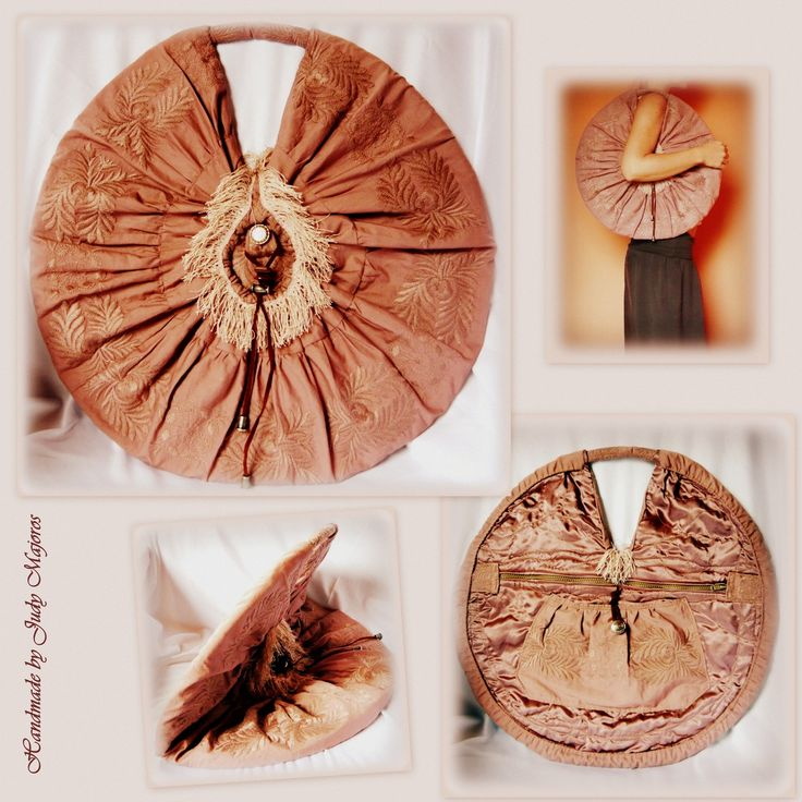 Handmade by Judy Majoros - Fringe round bag. Recycled bag