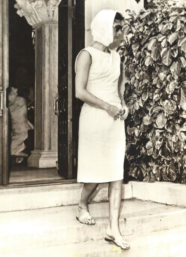 Jacqueline leaving Good Friday Mass at Palm Beach's St. Edward's, March 31, 1961