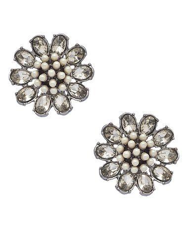 Carolee Silver Crystal and Pearl Earrings #maxandchloe