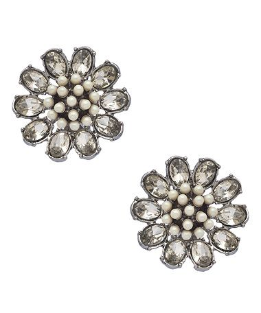 Carolee Silver Crystal and Pearl Earrings #maxandchloe