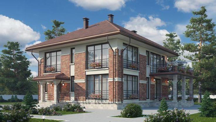 Проект дома из керамического кирпича Проект дома из поризованного камня Двухэтажный дом из кирпича Проект дома в стиле прерий