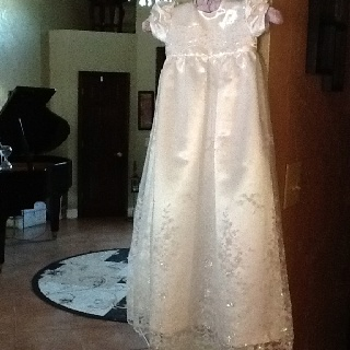 McCalls baptism dress. Record time of 4 hours. Added lace overlay.