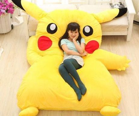 Cure your loneliness by snuggling up with your favorite Pokemon every night on the Pikachu bed. Once this giant Pikachu is sprawled out on the floor his soft and coushiony body provide the ideal resting spot to catch some Z's.