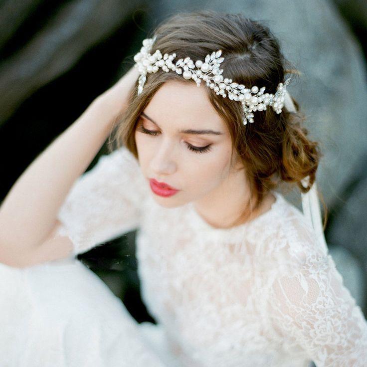 Handgemaakte Crystal Bridal Hoofdband Tiara Zilveren Bruiloft Haaraccessoires Elegante Hoofddeksel Parels Vrouwen Haar Sieraden