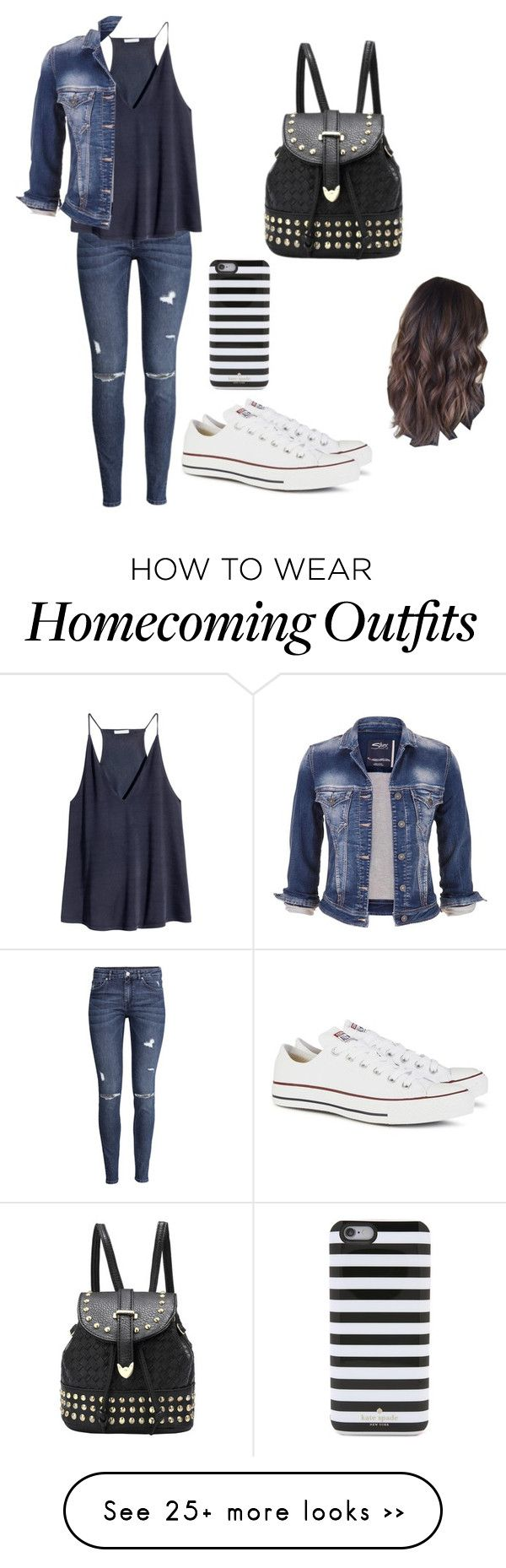 """Homecoming week- DAY #1 Denim"" by pastelpinky on Polyvore featuring Converse, H&M, maurices and Kate Spade"