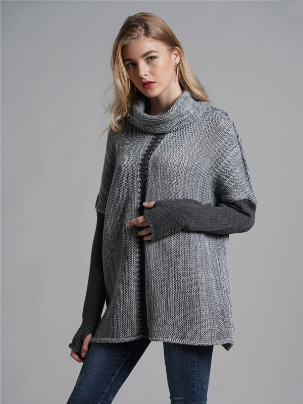 Vinfemass High Neck Patchwork Loose Knitted Jumper 2