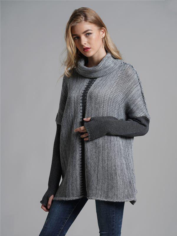 Vinfemass High Neck Patchwork Loose Knitted Jumper 9