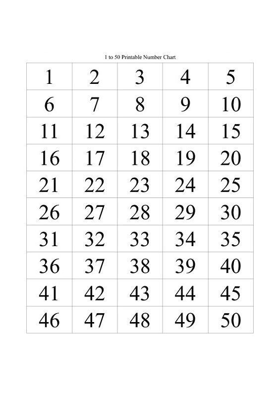 50 Number Chart Printable Number Chart Charts For Kids Kids Printable Coloring Pages