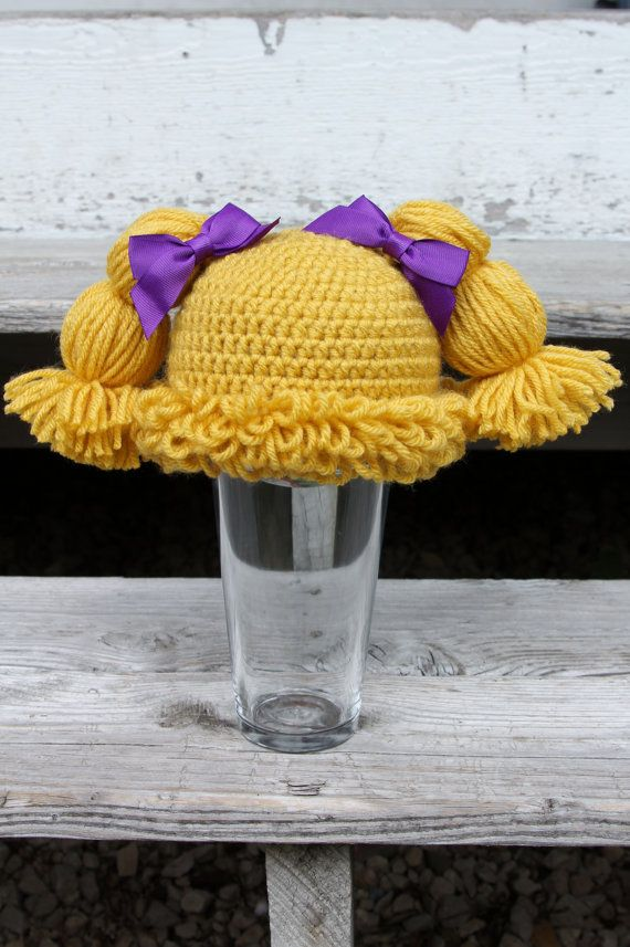 Cabbage Patch Knit Hat With Fringe And Pigtails Pattern : 1000+ ideas about Cabbage Patch Hat on Pinterest Crochet Hats, Yarn Wig and...
