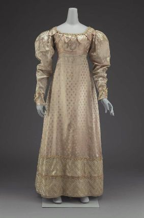 Silk dress. American, about 1825. Silk figured satin, silk gauze, silk bobbin lace, silk cord trim, and linen lining - in the Museum of Fine Arts Boston costume collection.
