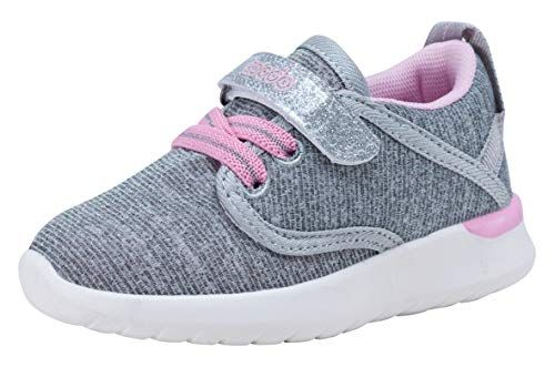 COODO Toddler Kid's Sneakers Boys Girls Cute Casual Running Shoes (7 Toddler,Grey Pink)
