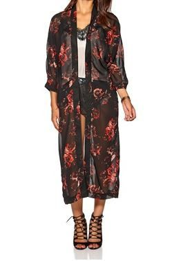 Rae 3/4 Long Kimono | 27 Boutique Long floral printed kimono from ONLY. Layer with leggings or your fave jeans with a tunic shirt for an on trend fall look this season.