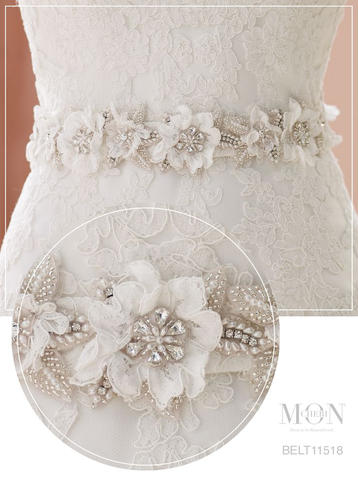 lace and satin floral wedding dress belt - Mon Cheri Bridals Style No. BELT11518