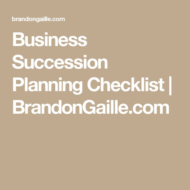 Business Succession Planning Checklist | BrandonGaille.com