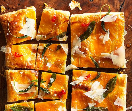 Butternut Squash Tart with Fried Sage Recipe  | Epicurious.com