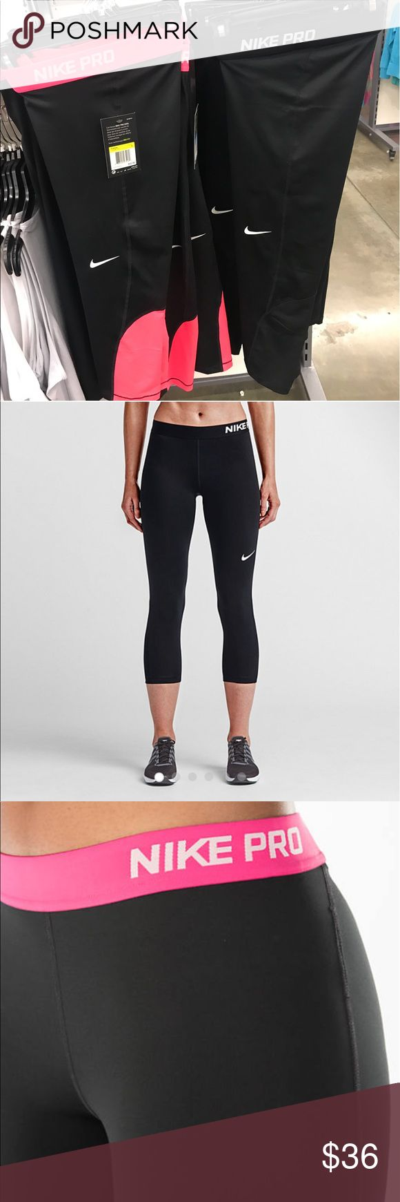 NWT💕Nike💕Women's Pro Training Capris drift See above description ⬆️ these are brand new with tags. I have both pink and black, and all black. Super comfy and cool mesh design behind the knees! Please check out my other listings and ratings as all are PHENOMENAL 👍🏼😍💋 please let me know what pair you are bidding on 🤗🌈 Nike Pants Capris