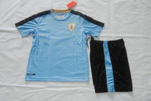 Kids Uruguay National Team 2016 Home Blue Jersey(Jersey+Shorts) [E167]