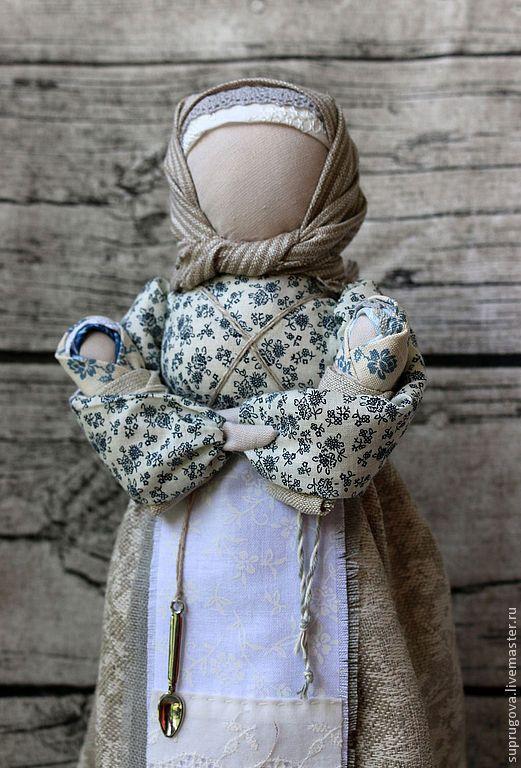 "Купить ""Мамушка-кормилица"" обережная кукла - серый, кукла оберег, мама, традиционная кукла"