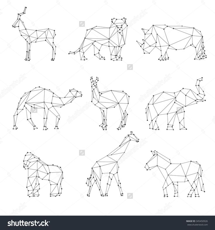 Geometric Animals Silhouettes. Unusual Logo, Roe And Lion, Rhino And Camel, Elephant And Gorilla, Vector Illustration - 345450926 : Shutterstock